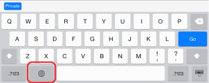 The emoji keyboard on an iPad