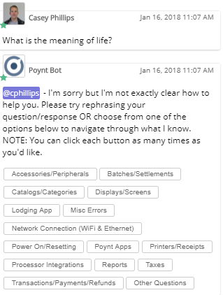 Boomtown's Poynt Bot helping a user find the right answer after not finding a potential answer.