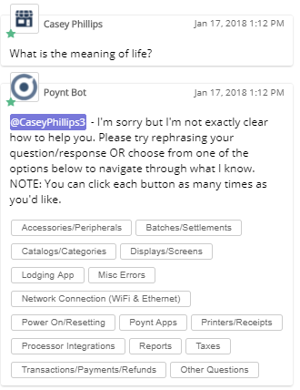 Boomtown's chatbot design of a Failure Message. This message greatly improves the chatbot UX after an unsuccessful attempt is made to answer a user.