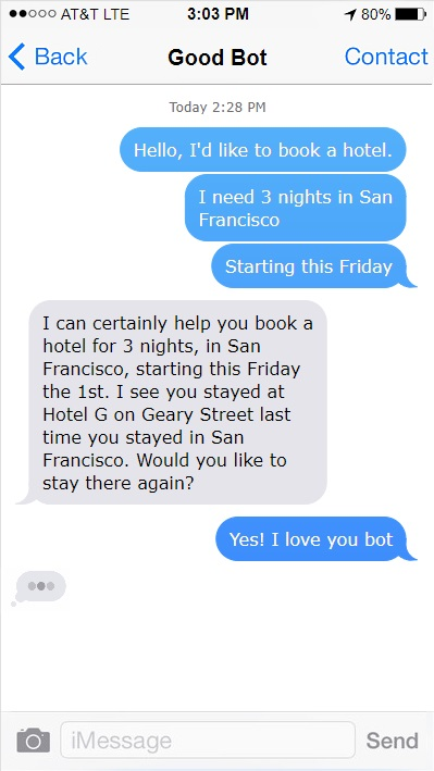 An example of a chatbot design using typing indicators and intelligent listening. This makes a considerable impact on the overall chatbot UX.