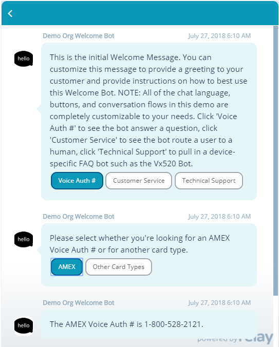 Using chatbot buttons in the Relay Chatbots