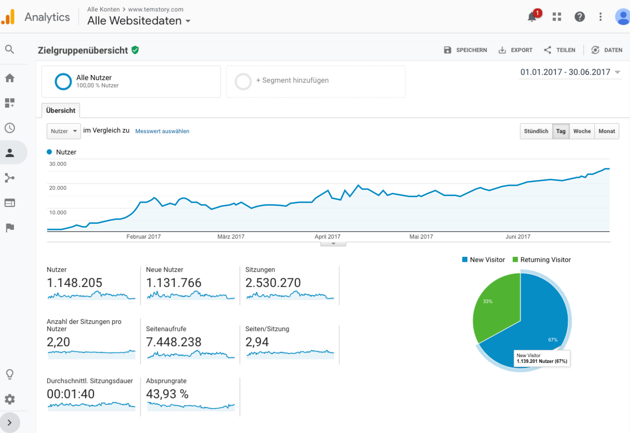 Screenshot Kurve in Google Analytics