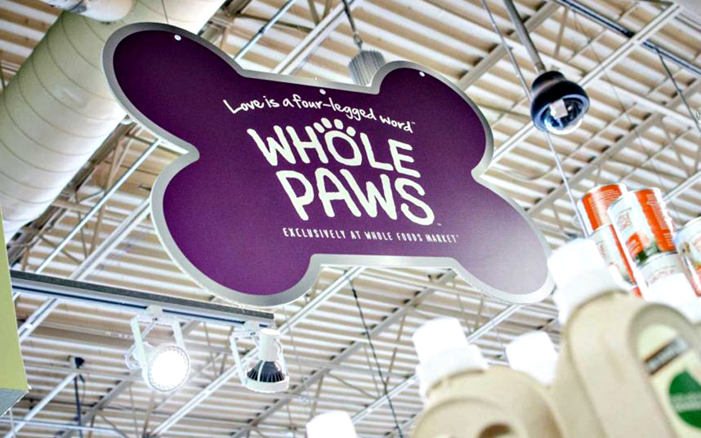 WFM Whole Paws in-store hanging sign