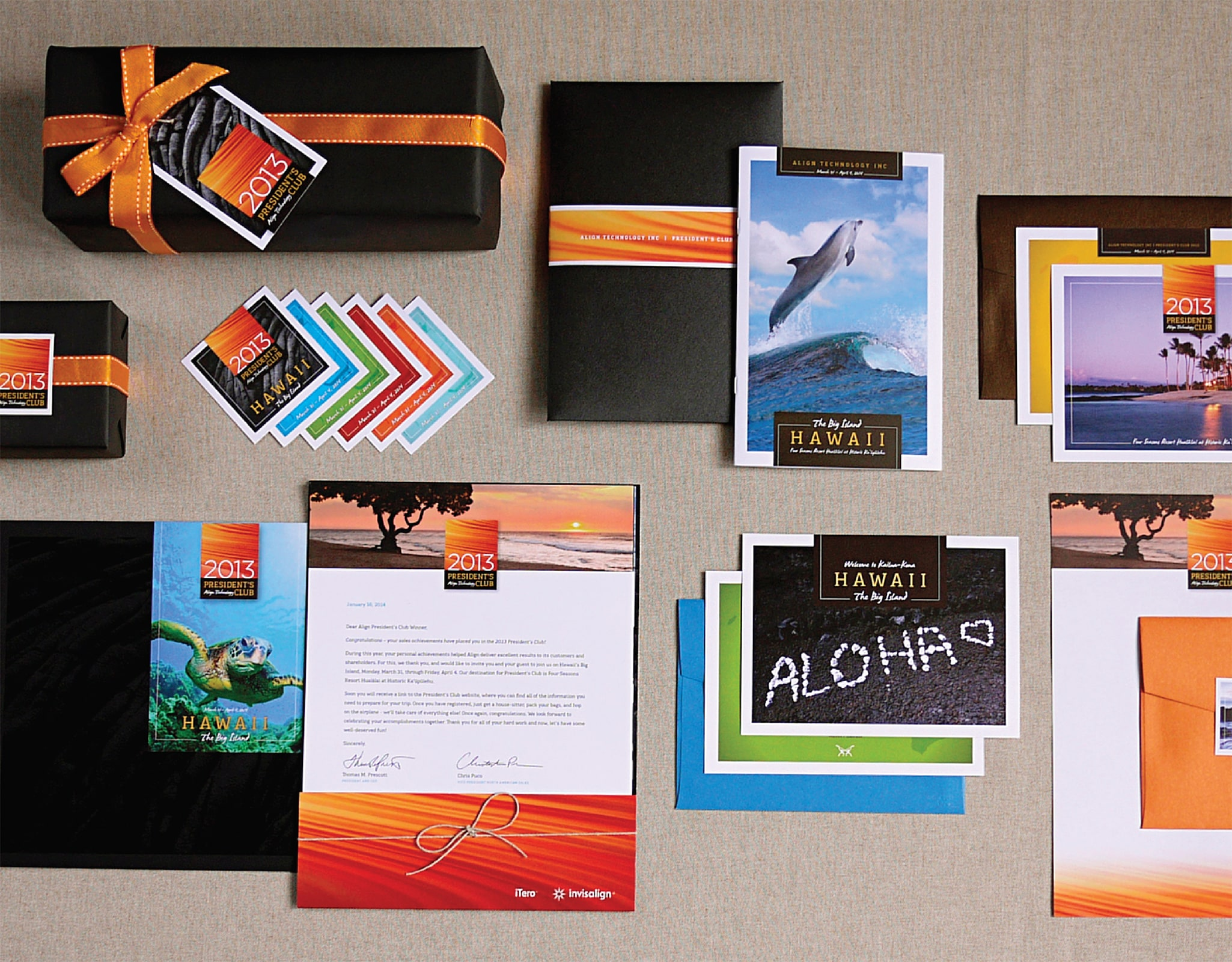 Photograph of event materials from Align Technology President's Club 2013