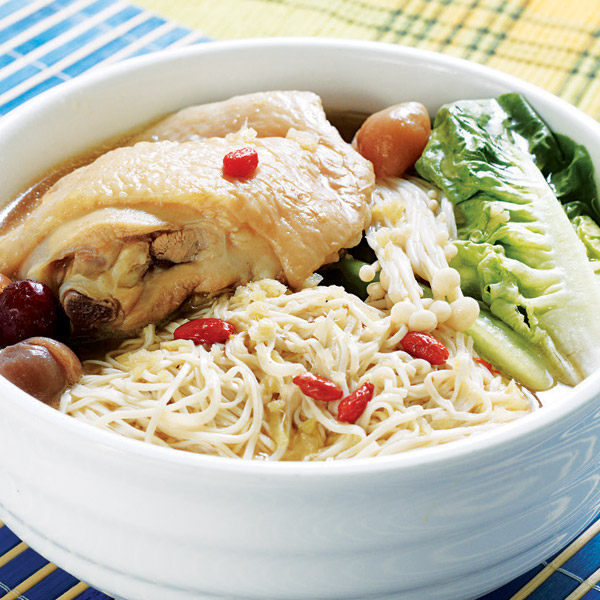 Genki Herbal Chicken Pan Mee Sua (Soup)