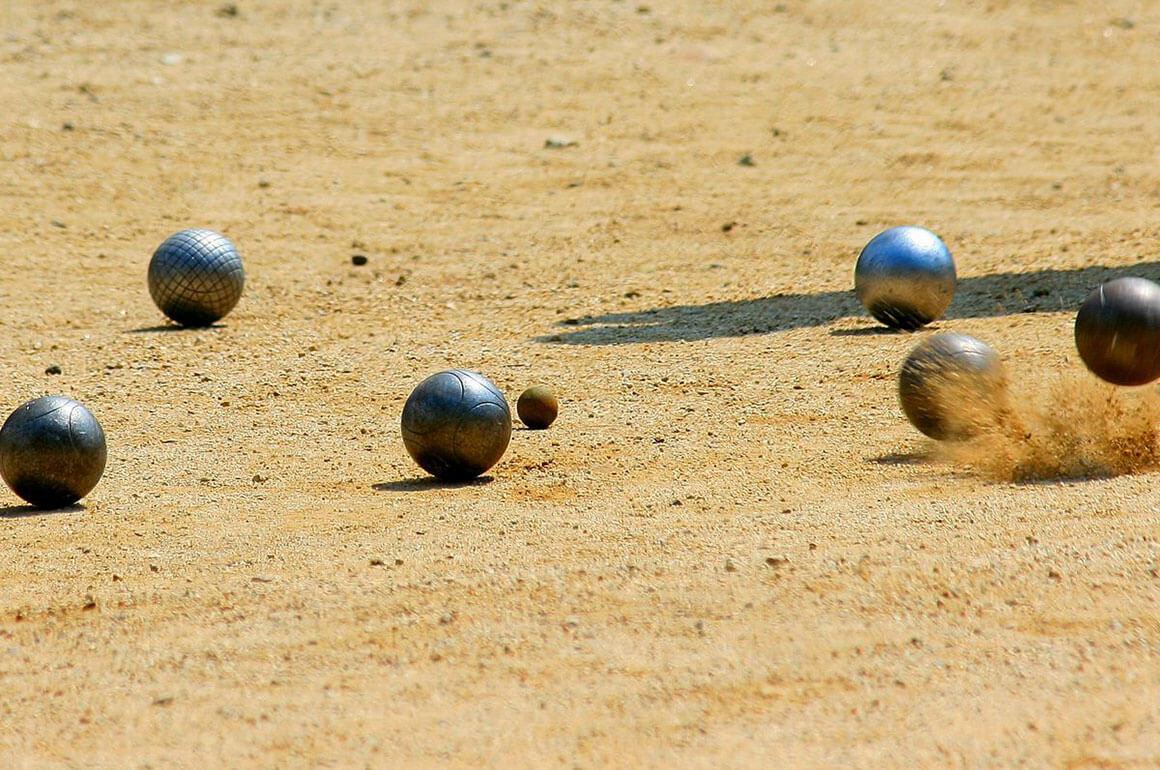 Petanque balls on the pétanque field of Megeve