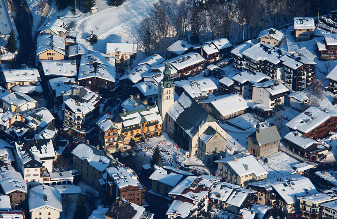 Aerial view of the village of Megève at the end of the day