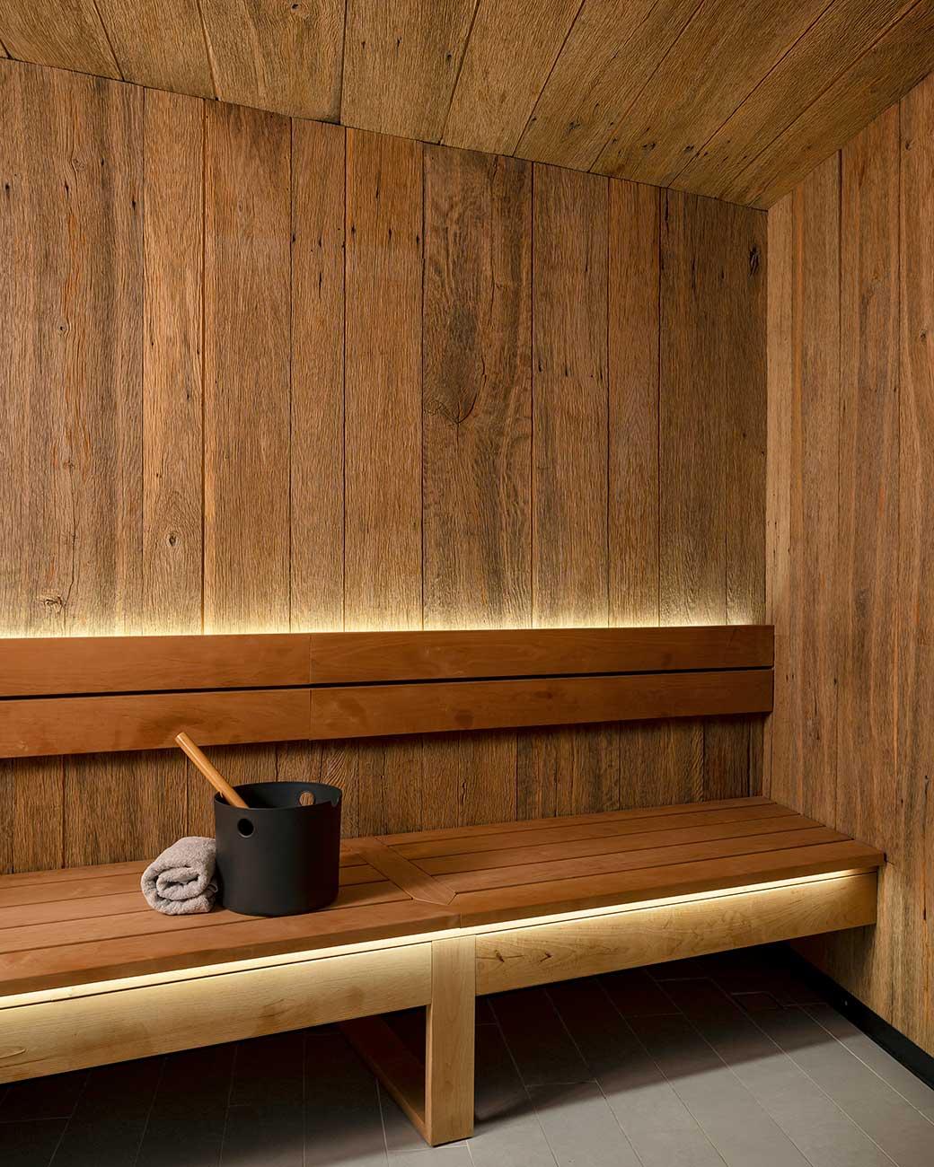 Backlit wooden sauna