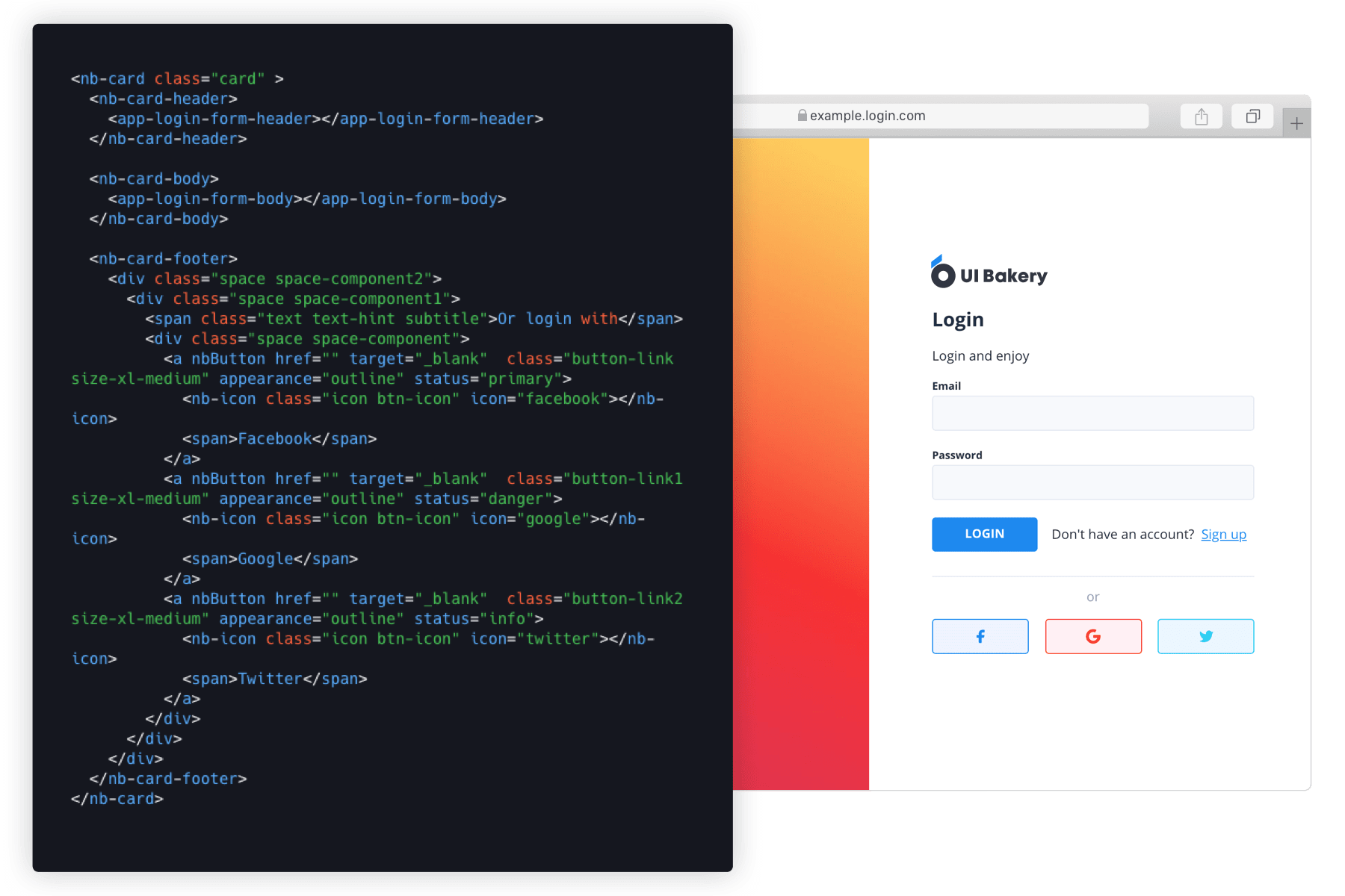 Low code web app builder for creating a login page without coding