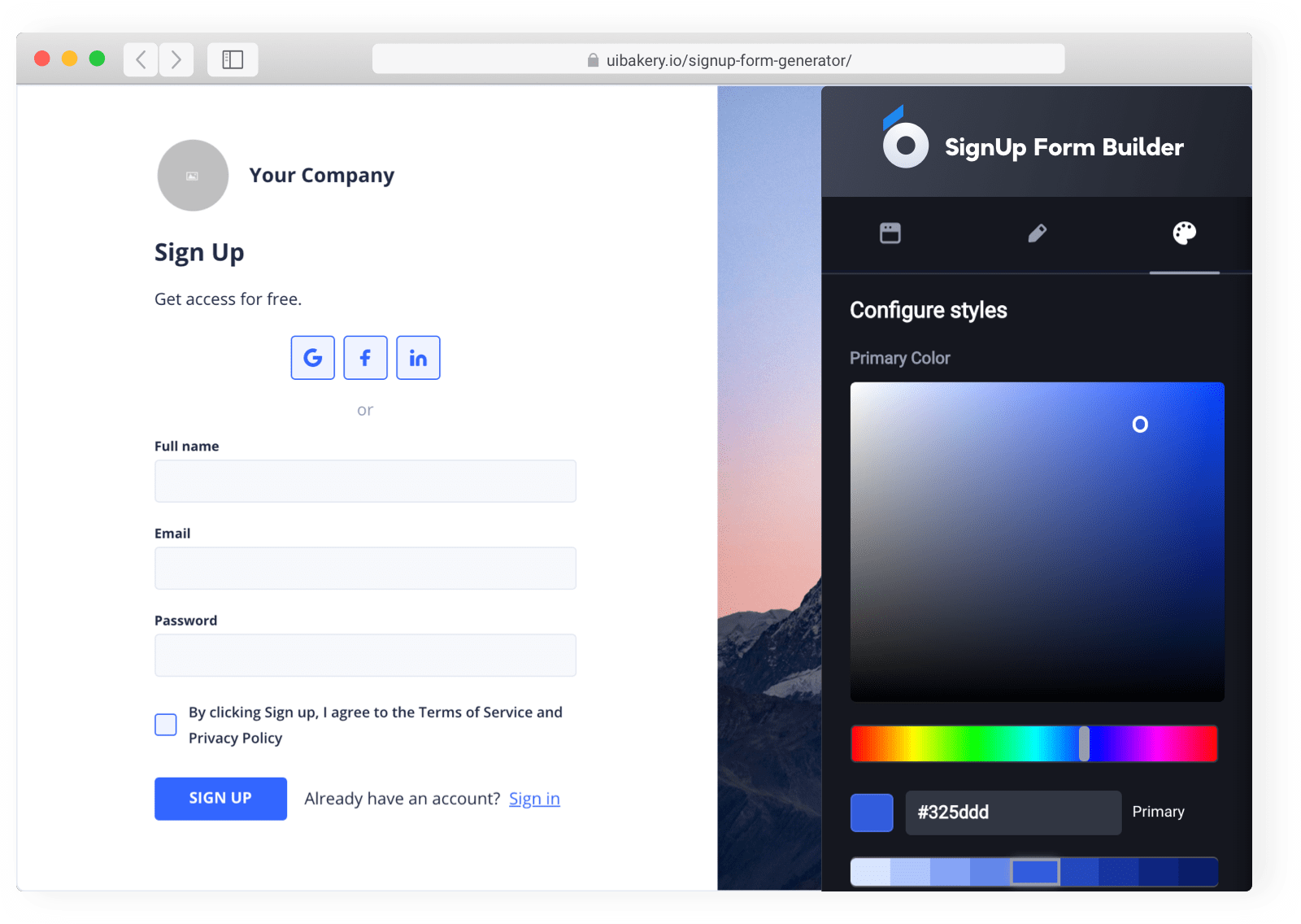 Sign up form builder, or login page creator without coding