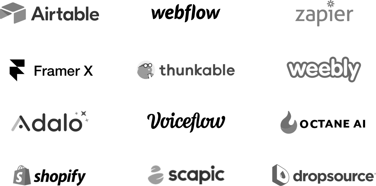 Airtable, Webflow, Zapier, and other no code development platforms for application building, UI design, database creation