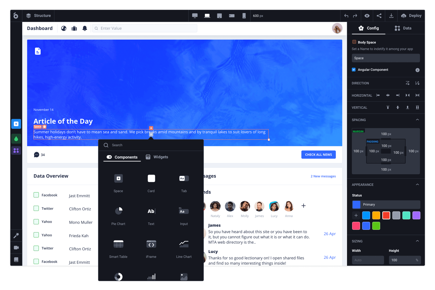 Low code development platform for building web apps with predefined UI components and widgets