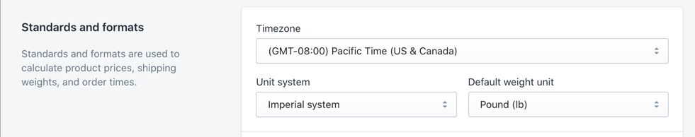 Shopify settings default timezone