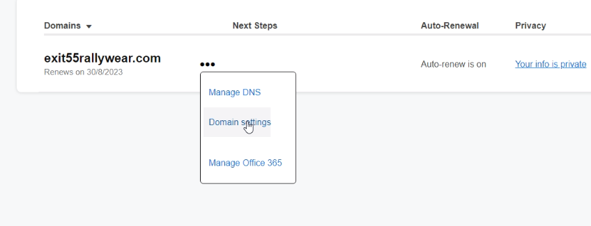 Click on your Domain settings option