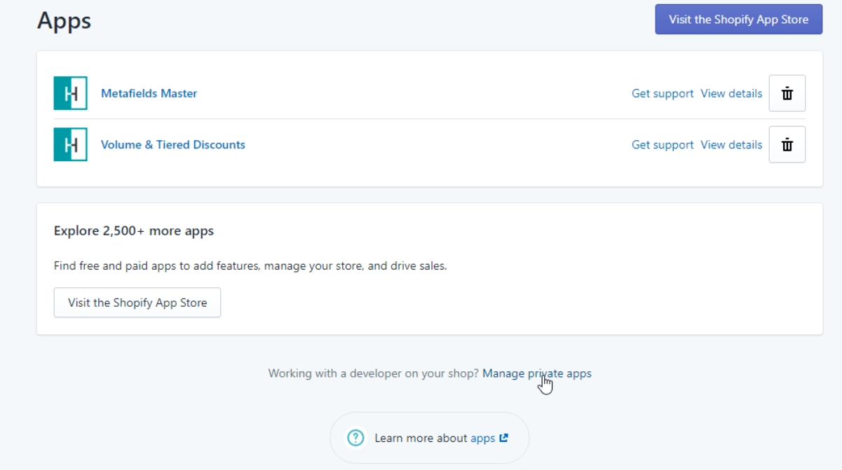 Click on manage private apps