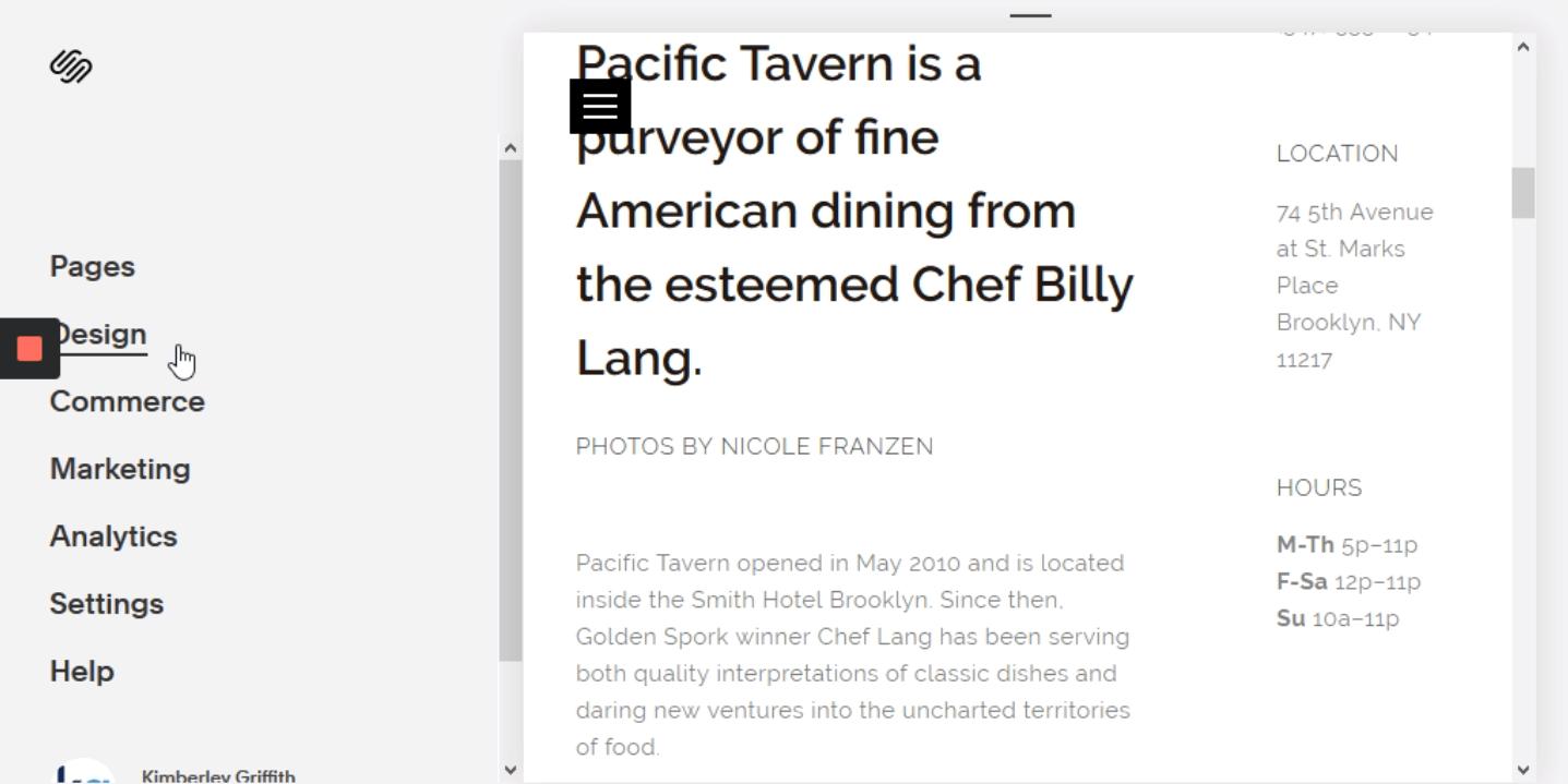 "Click on ""Design"""