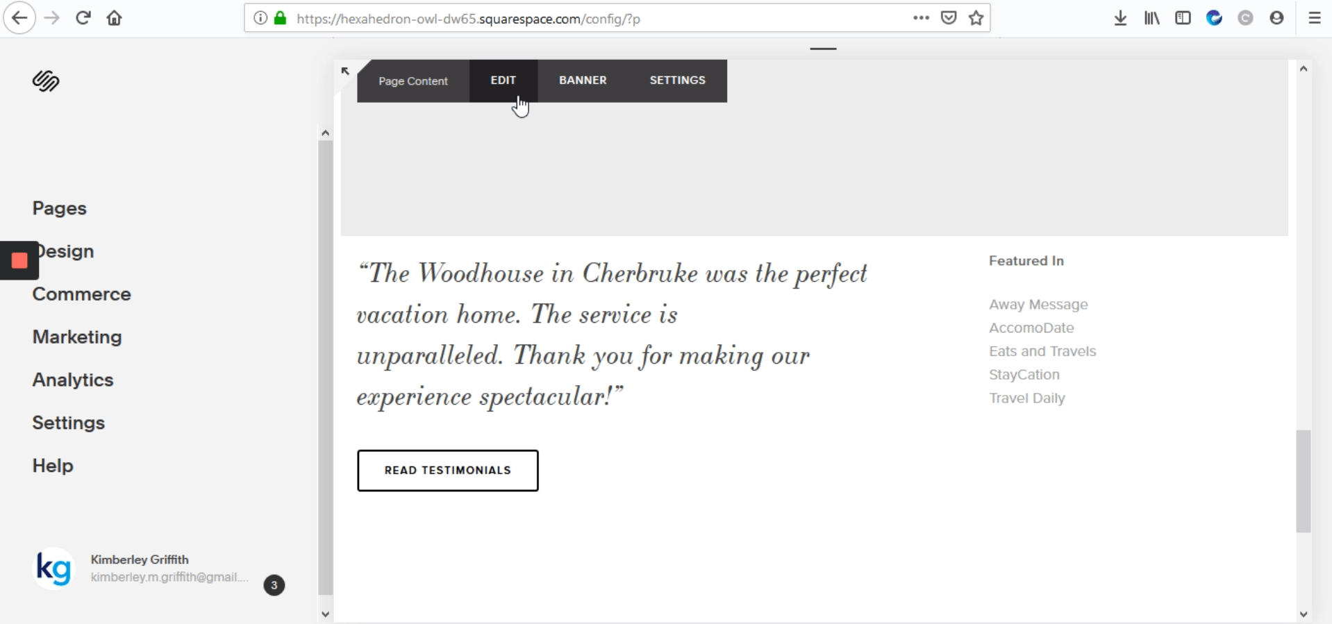 "Go to your SquareSpace site and click on ""EDIT"""