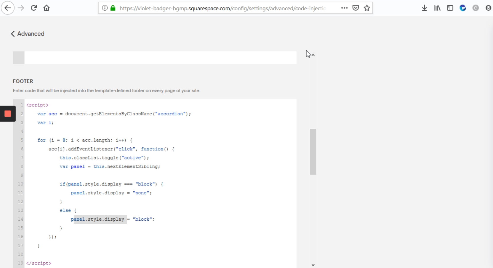 "Go to ""FOOTER"" and enter the Javascript code"