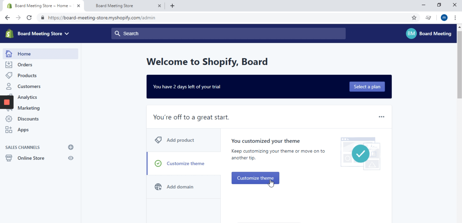 Go to your Shopify admin site