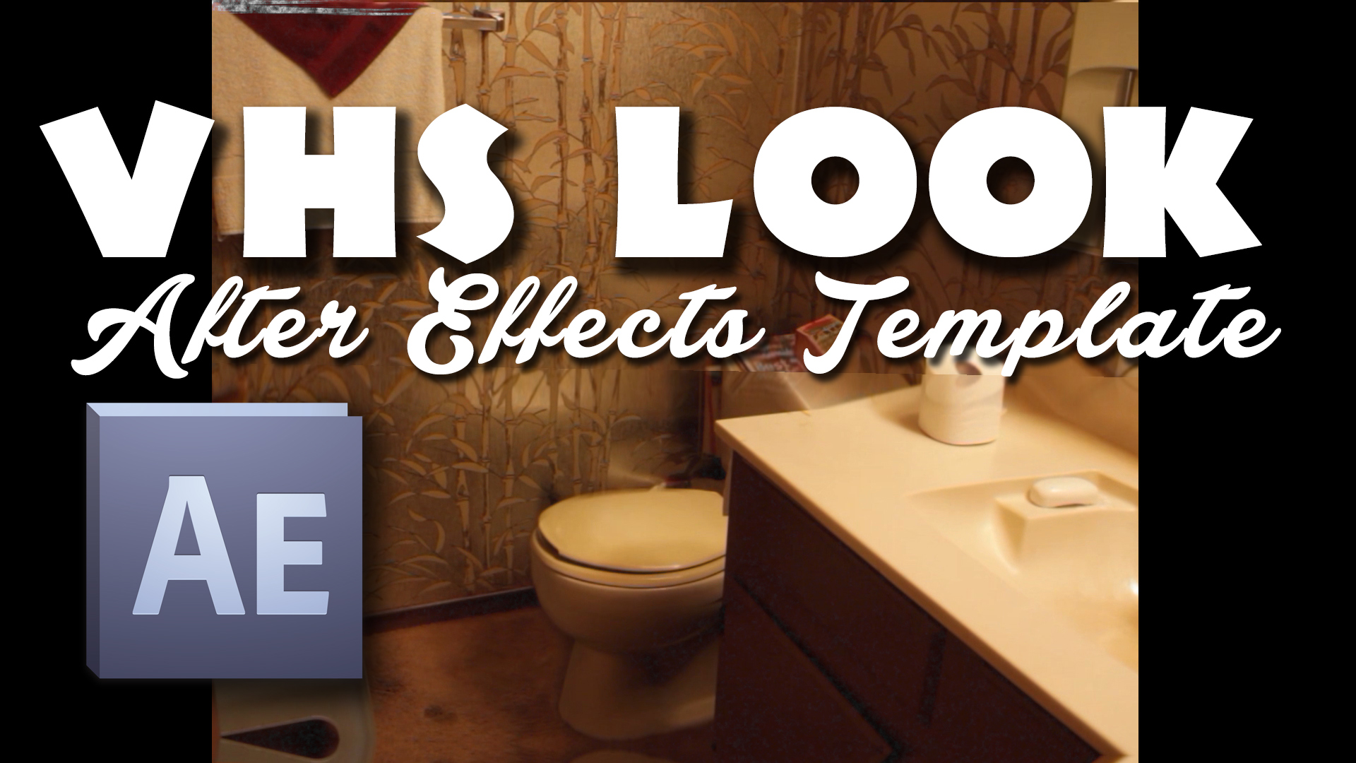 """Thumbnail image of bathroom that is an Adobe After Effects Product VHS look Template to make your videos look like 80s vhs tape with the noise if you open it in Adobe after effects, it's a free download, just put your email where it says """"Your Email"""" and click Download Now button below"""