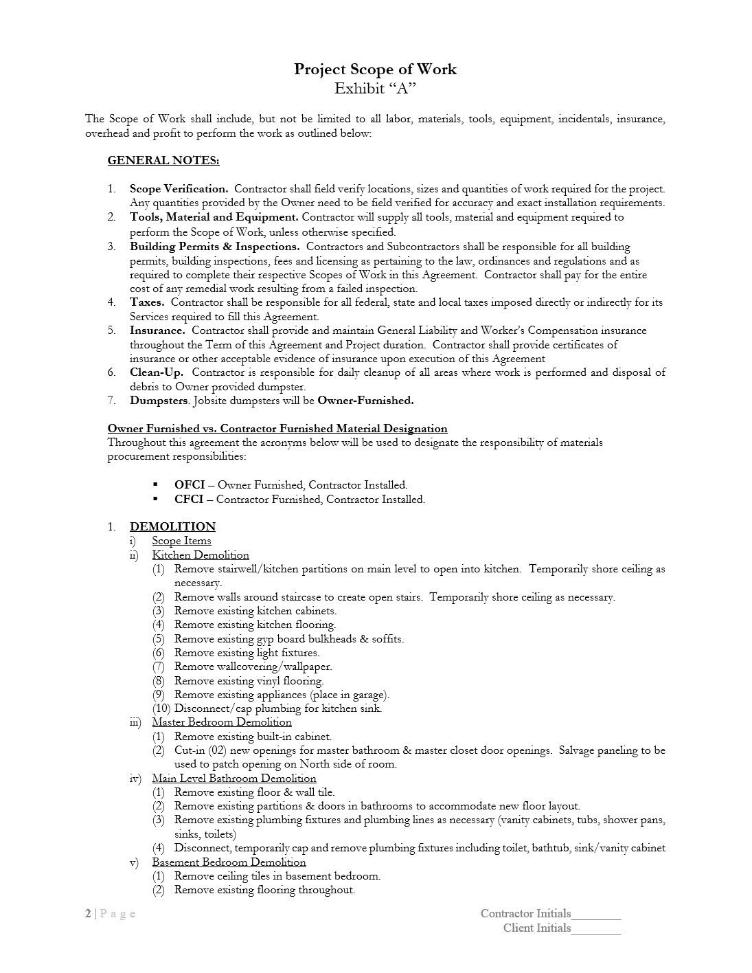 Scope of Work Document Template Example