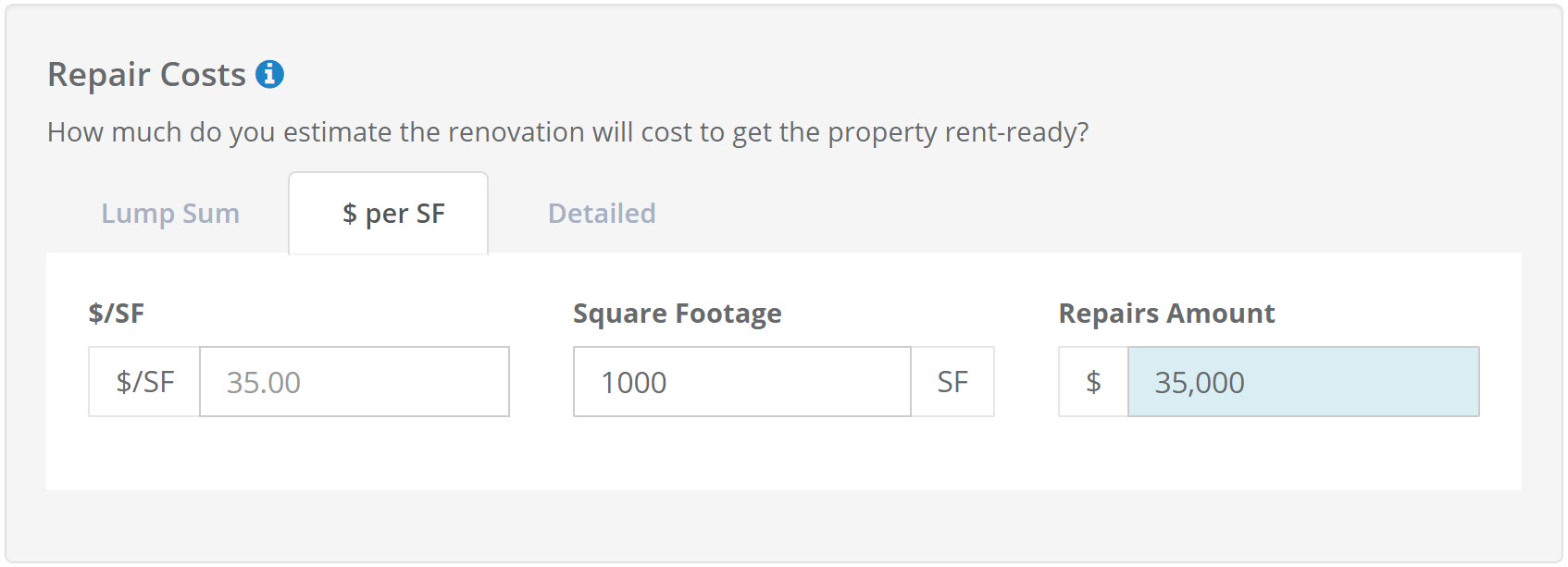 Rehab Estimate per SF