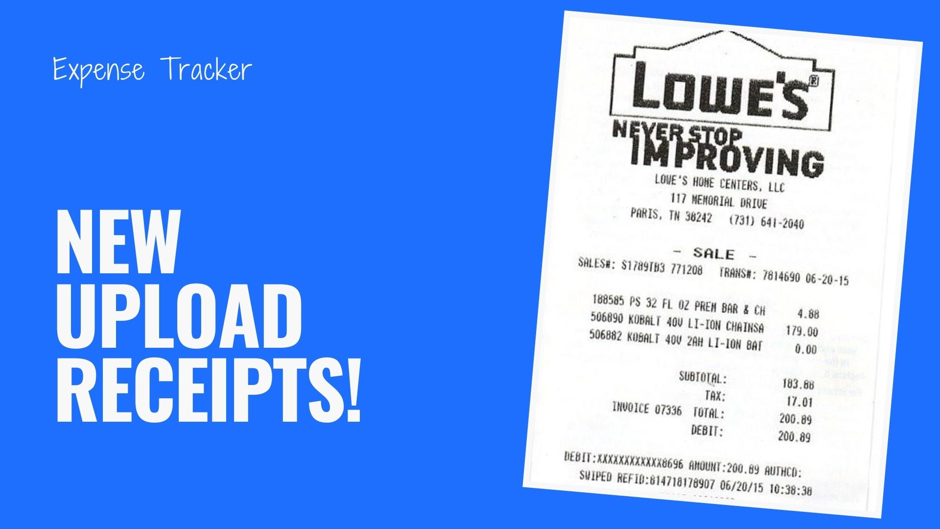 New Upload Receipts and Invoice Images to the Expense Tracker!