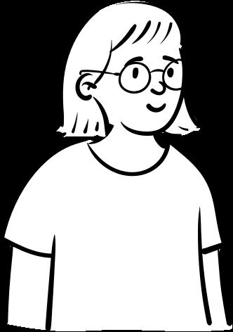 A drawing of a smiling Nadia, who's wearing circular glasses and has a shoulder-length haircut.