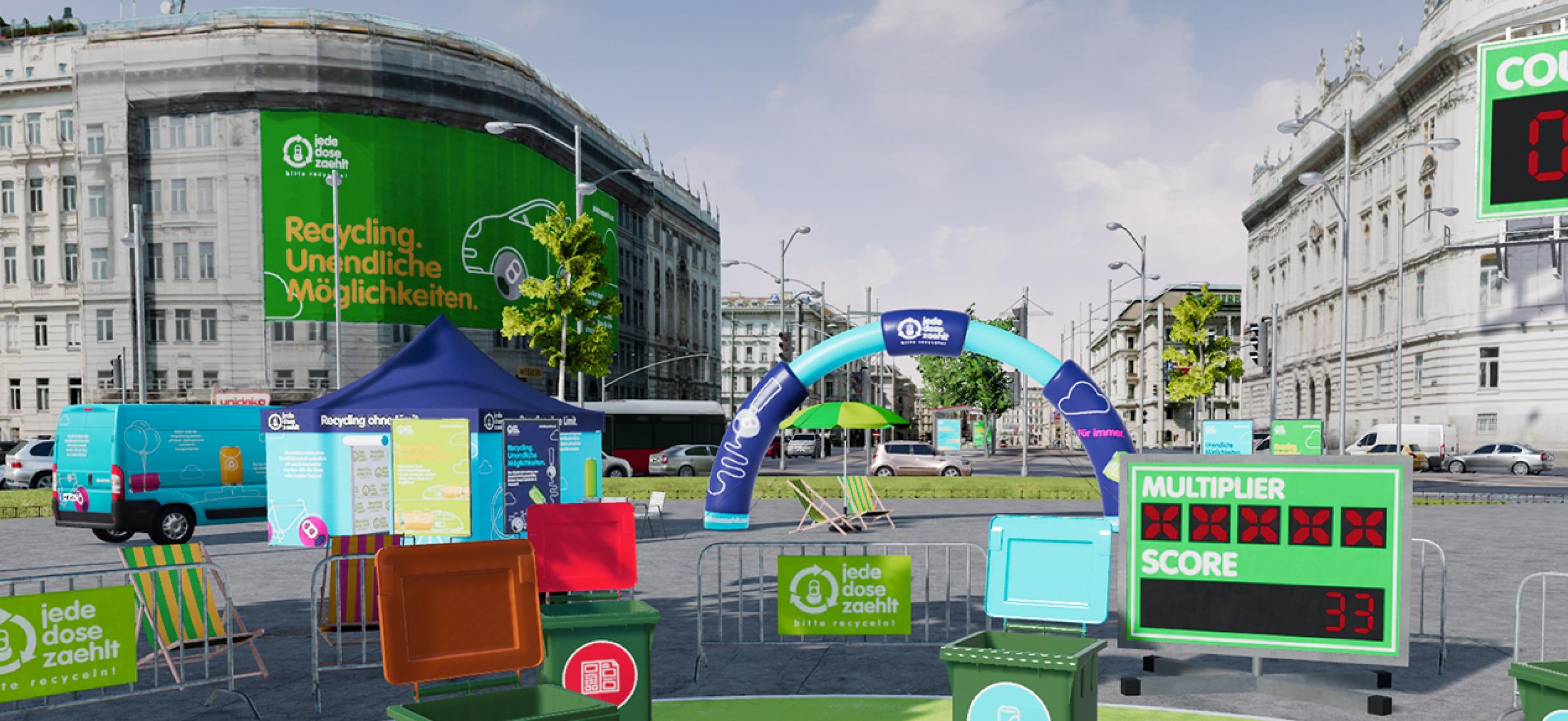 """Ziel der Kampagne """"Jede Dose zählt"""" war es jungen Menschen richtige Mülltrennung & Müllverwertung näher zu bringen. Wir kreierten das VR Spiel dazu!"""