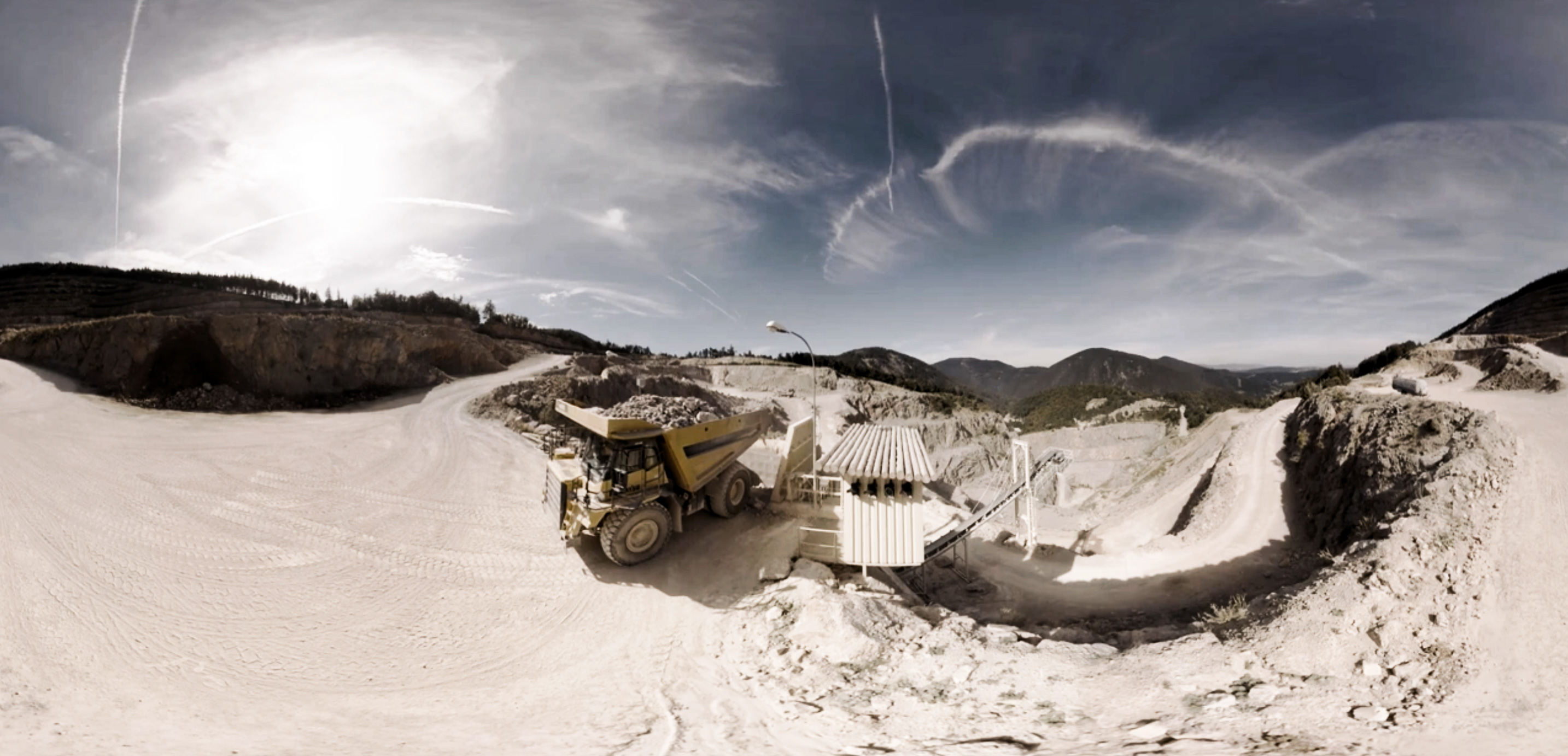 still frame from limestone quarry taken from Baumit 360 video virtual tour