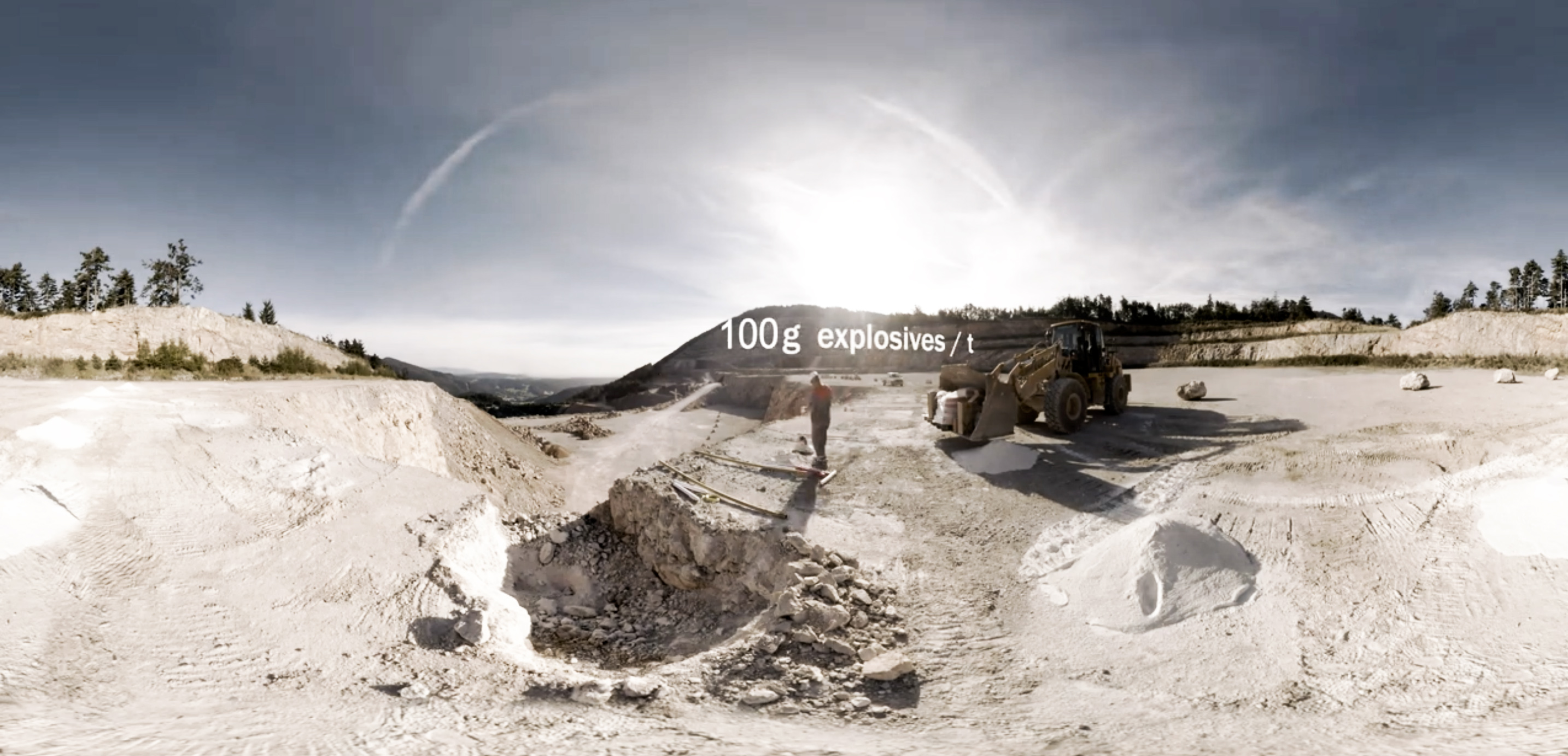 still frame of a 360 video created for Baumit Austria at a limestone Quarry