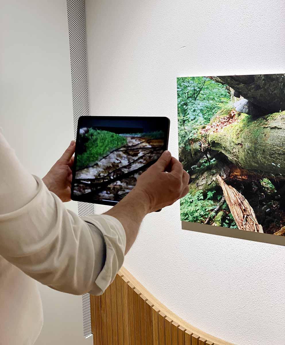 Mann hält ein iPad, das ein Augmented-Reality-Erlebnis enthält