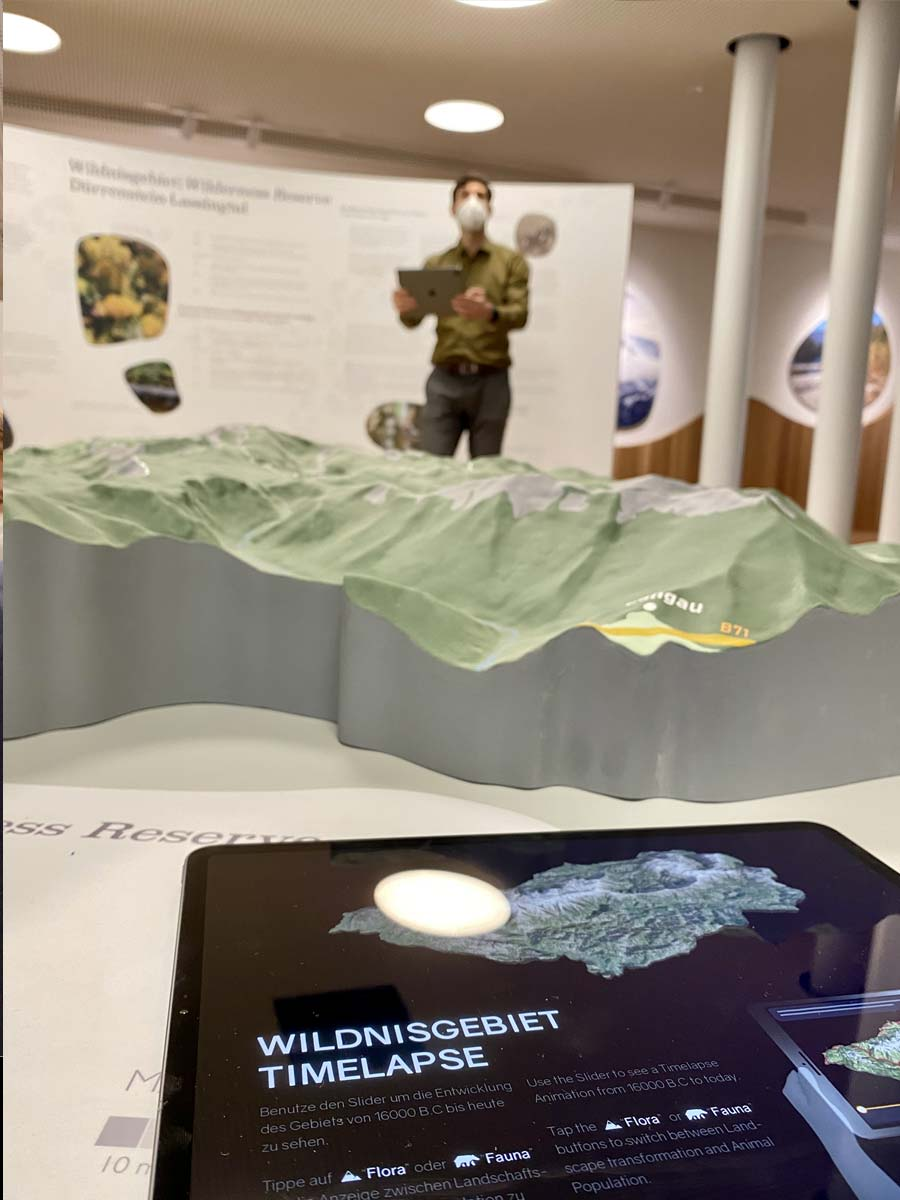 land model of a forest area, and an iPad