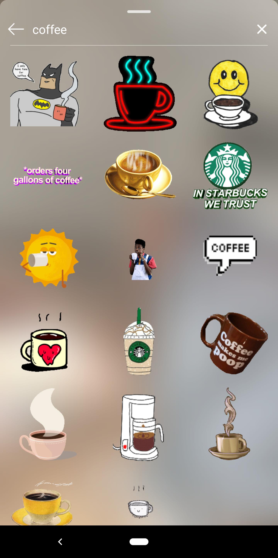 screenshot of gif sticker search