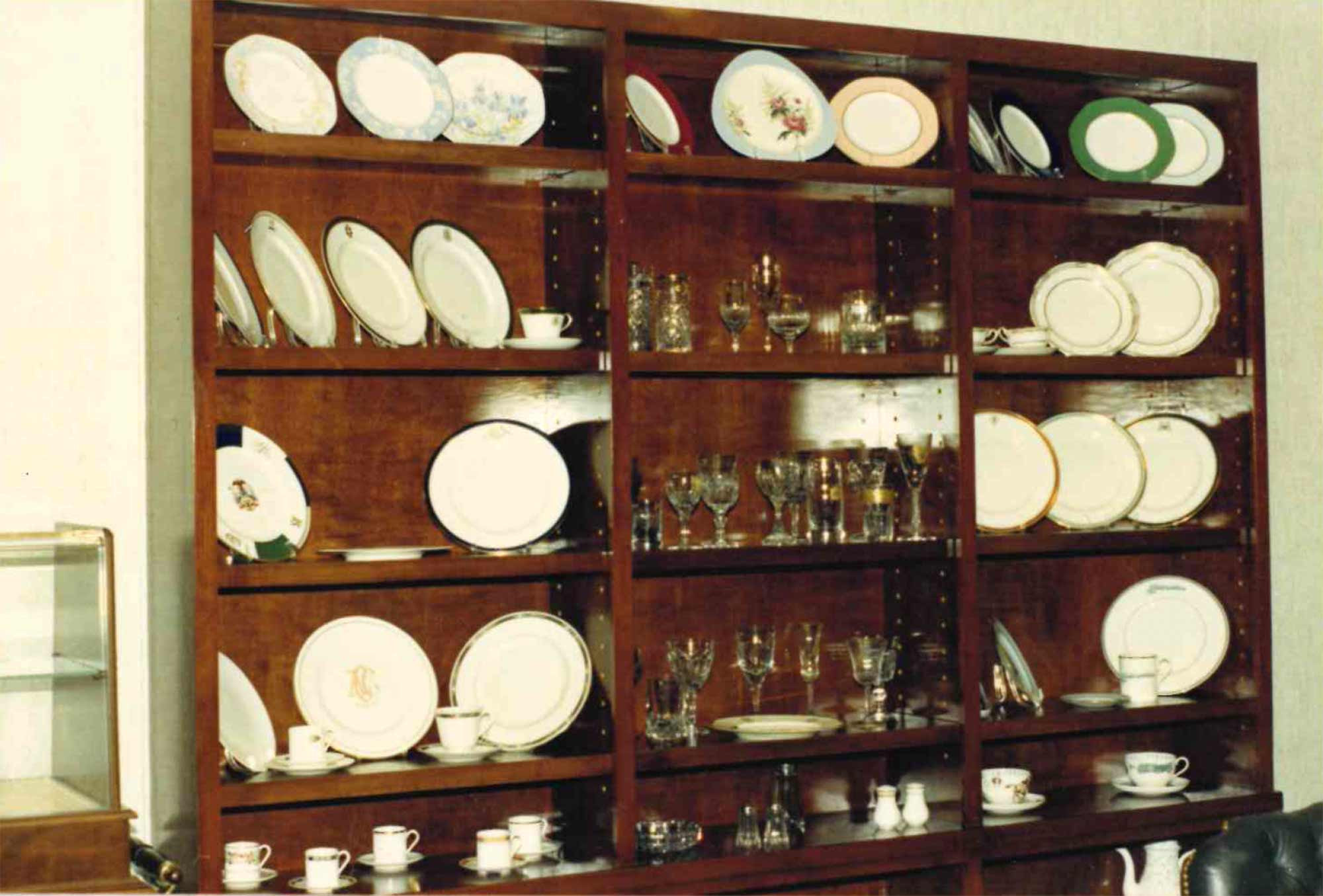 Sample china, crystal and flatware at the head office of Dahlgren Duck