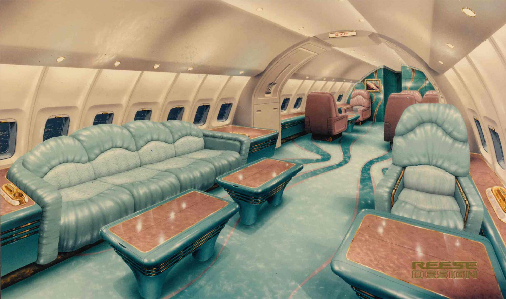 A concept drawing of the inside of a custom 747 airliner
