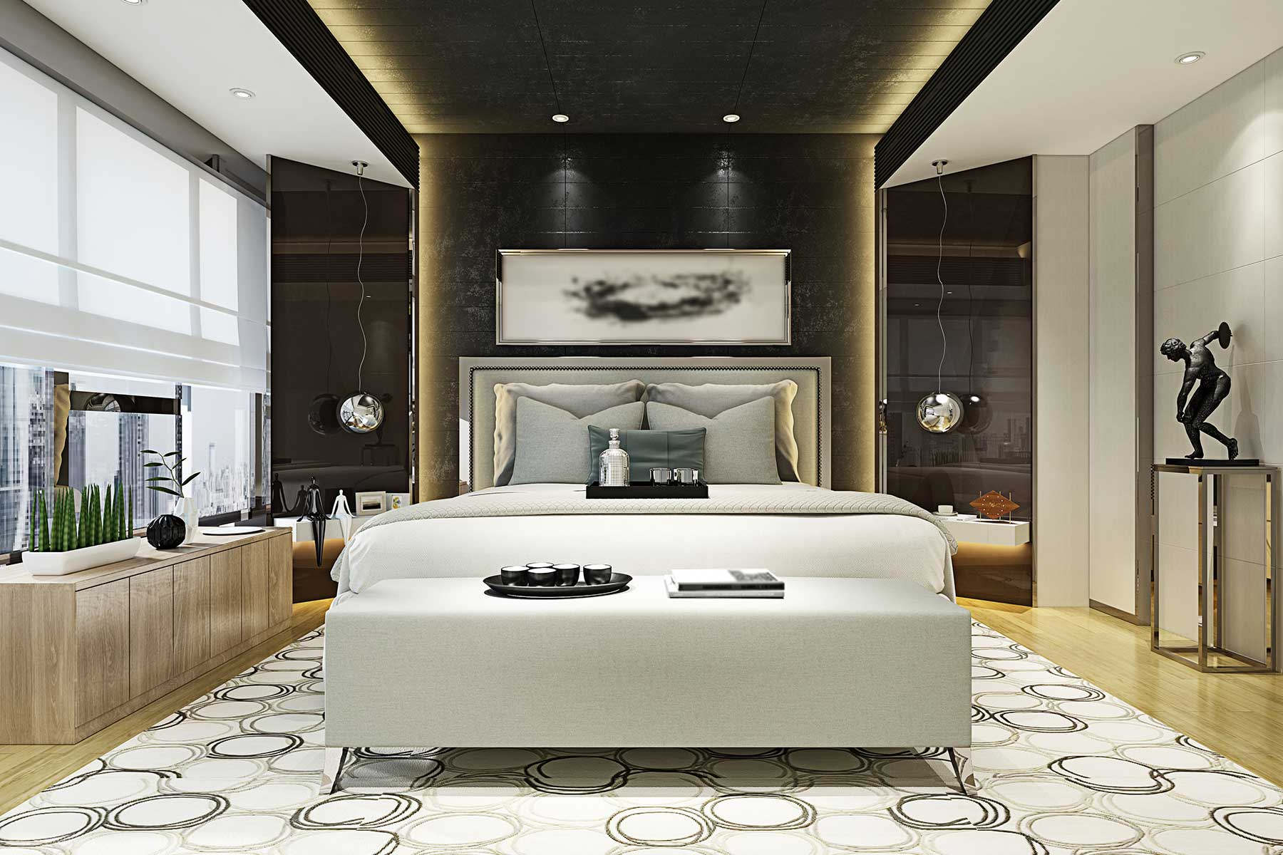 The master bedroom in a luxurious private residence