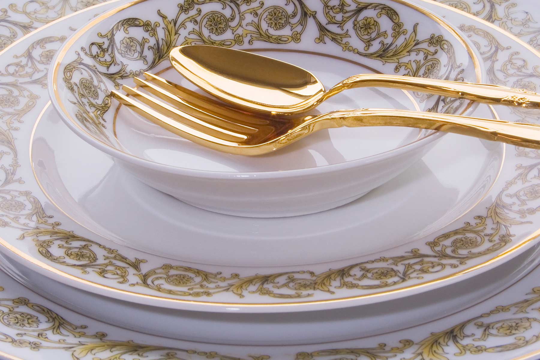 bespoke gold fork spoon bowl plate charger china precious metal design
