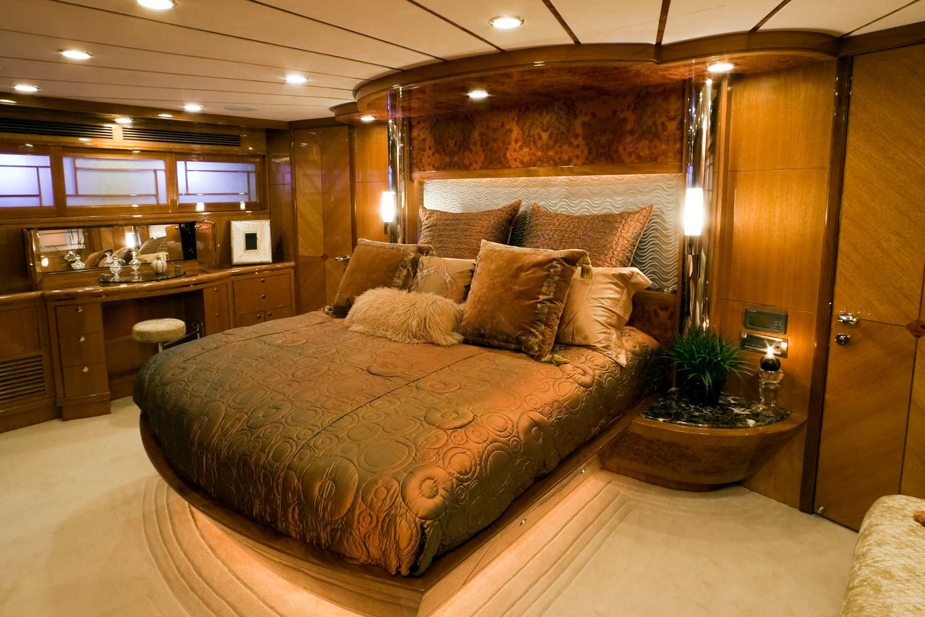 A beautifully appointed state room in a luxury super yacht