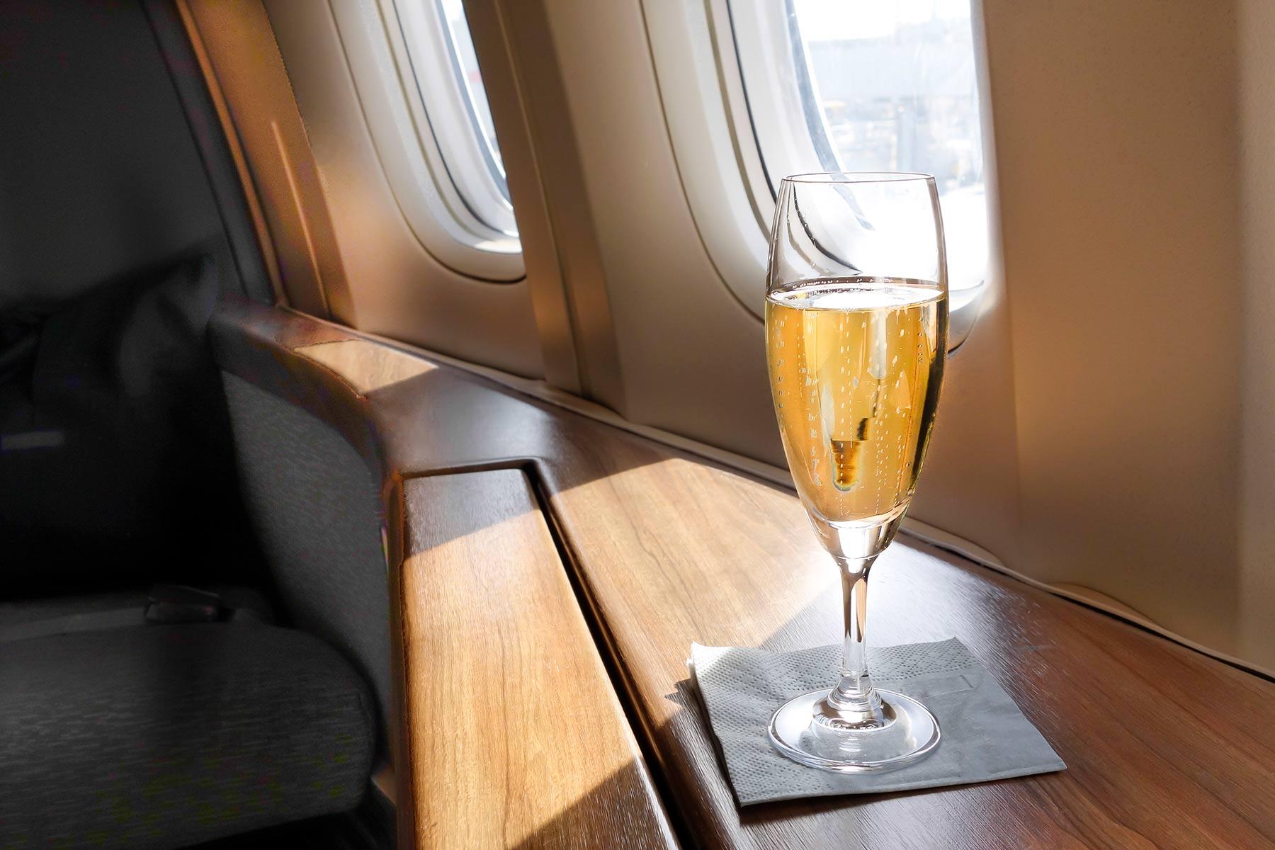 Bar service aboard a Gulfstream private jet aircraft