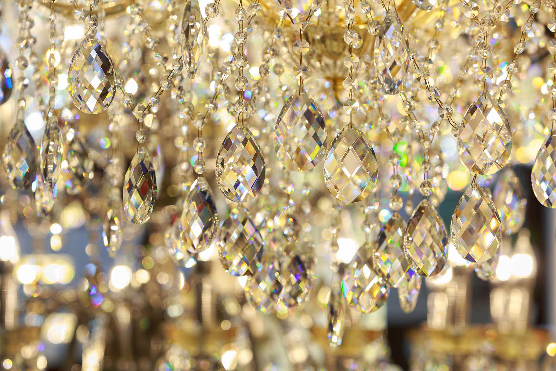 Refractions appear in a custom crystal chandelier