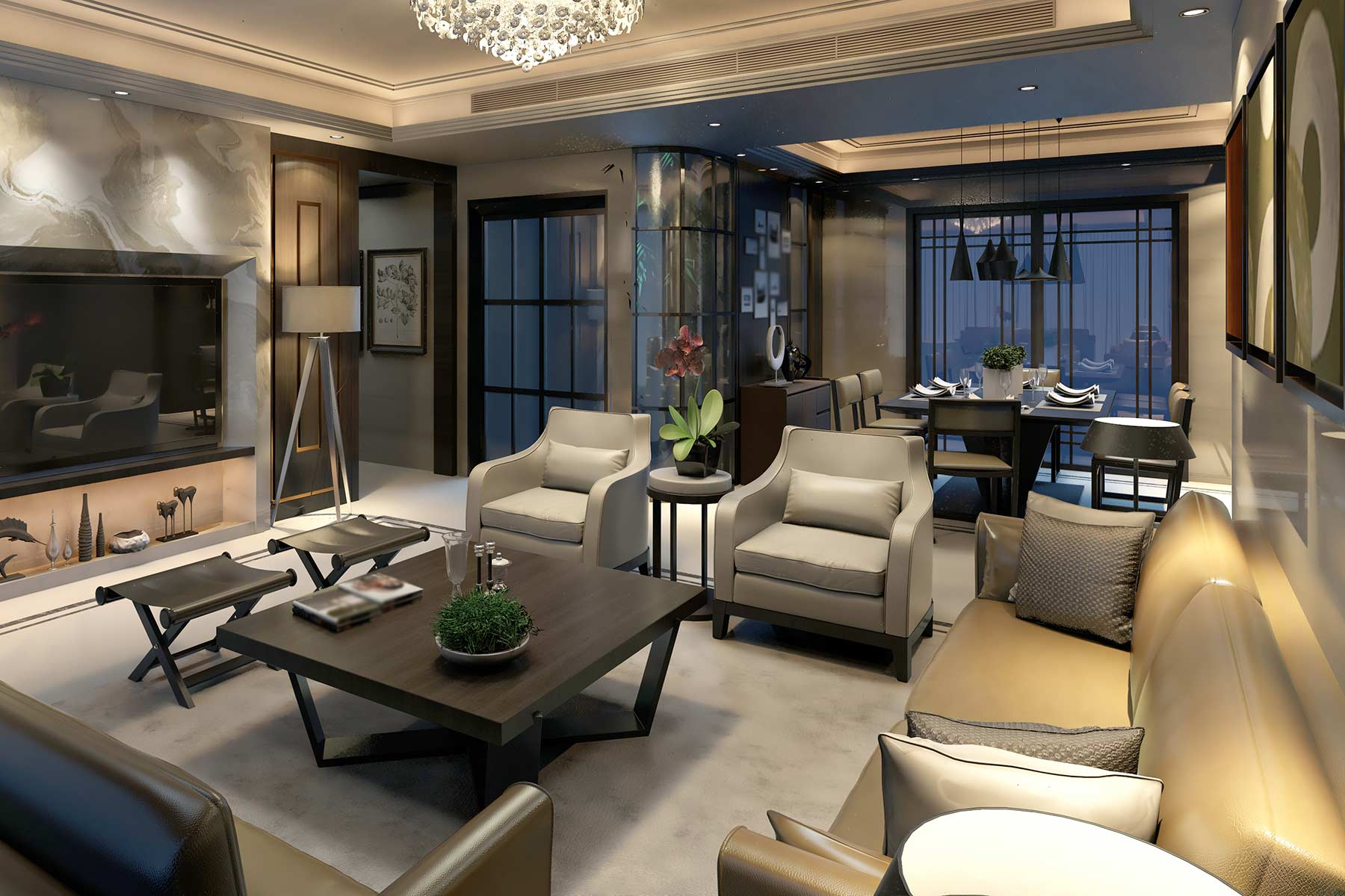A luxury apartment in a New York CIty high rise