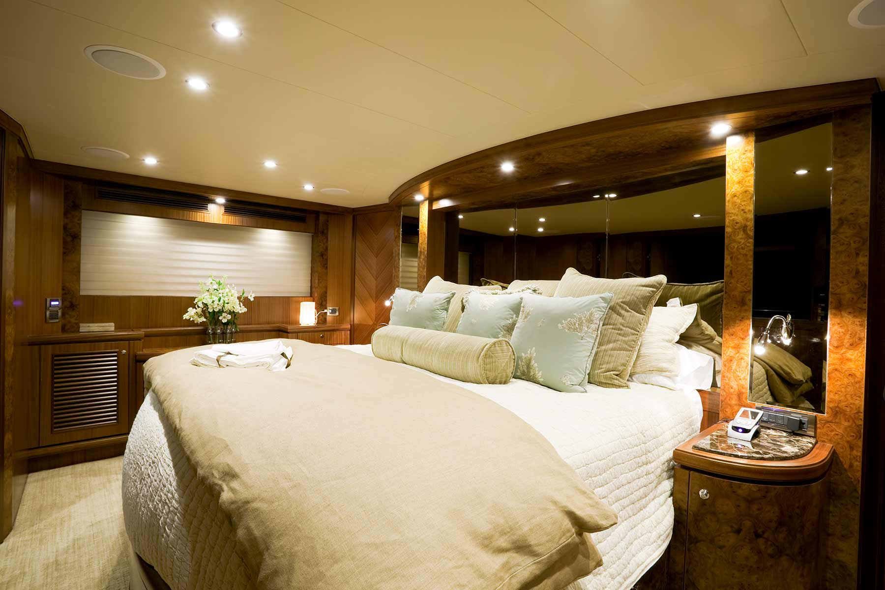 Master state room on  private super mega yacht