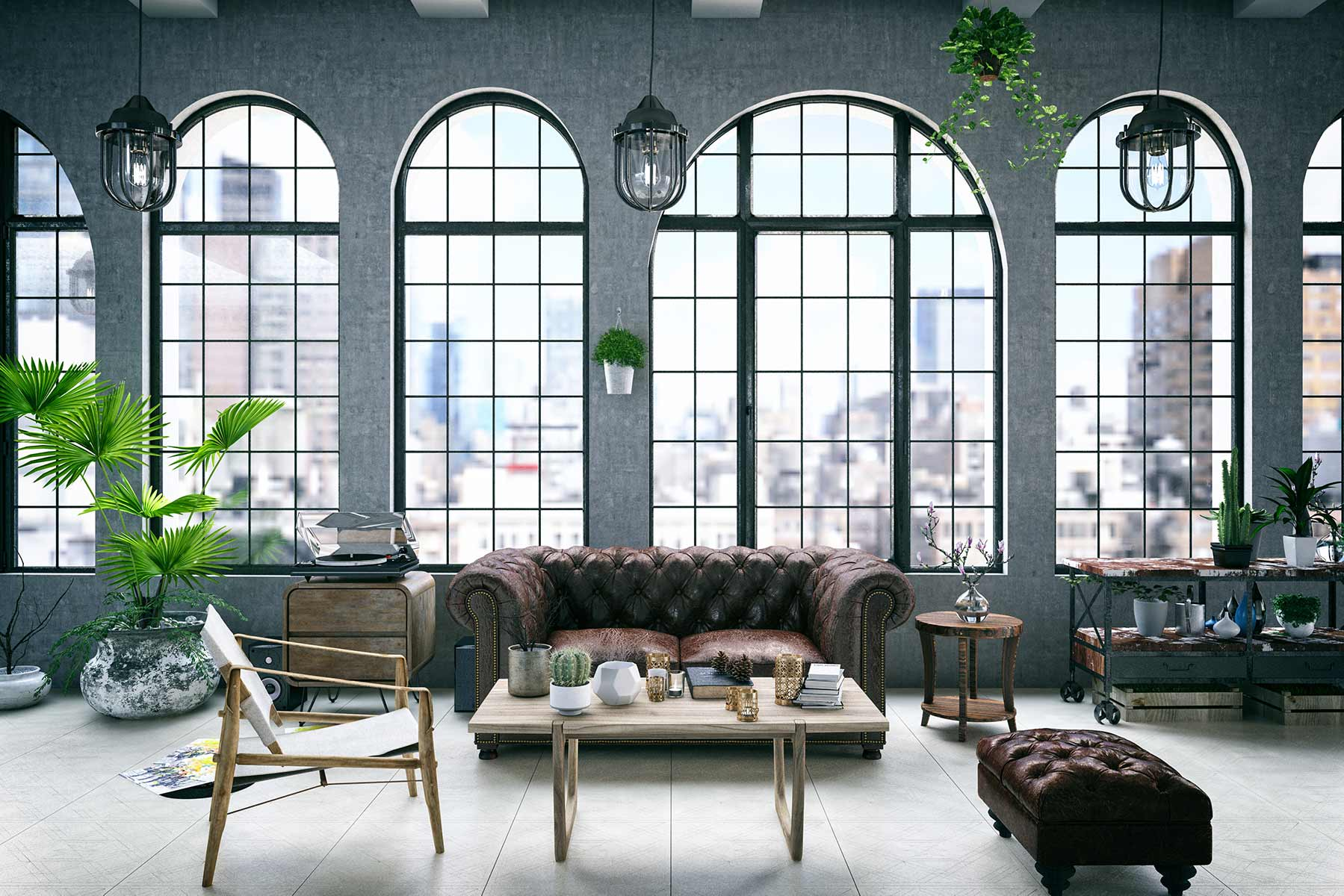 A loft-style living room appointed in leather and glass