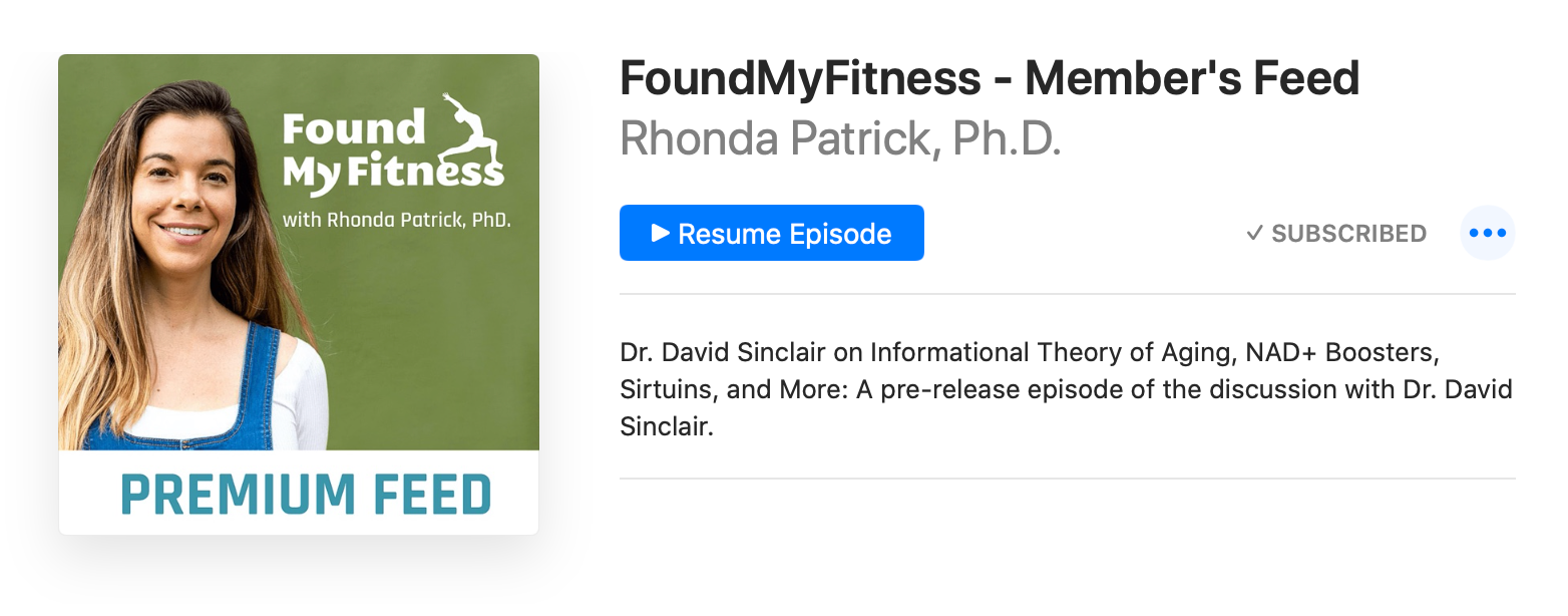 """Screenshot of podcast player playing """"Found My Fitness"""" podcast"""