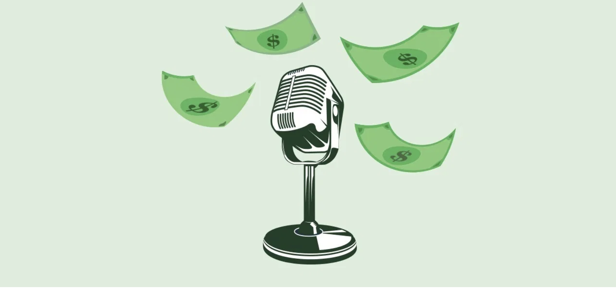 podcast microphone with money surrounding it
