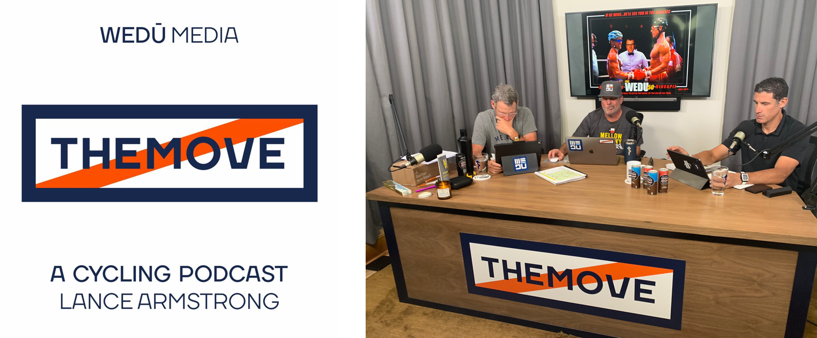 """The crew of """"THE MOVE"""" podcast along with its artwork"""