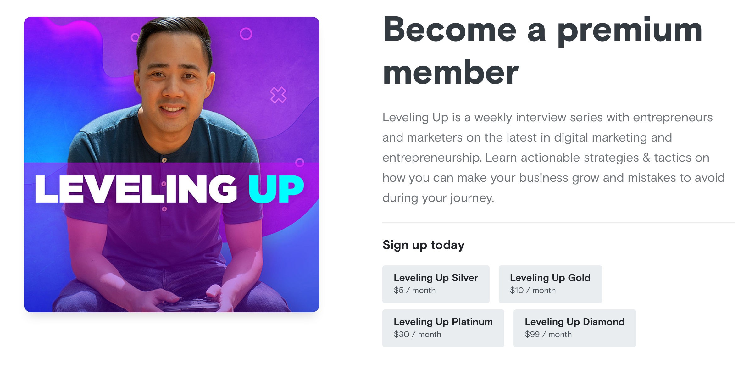"""Podcast artwork for """"Leveling Up"""" and list of benefits for premium members"""