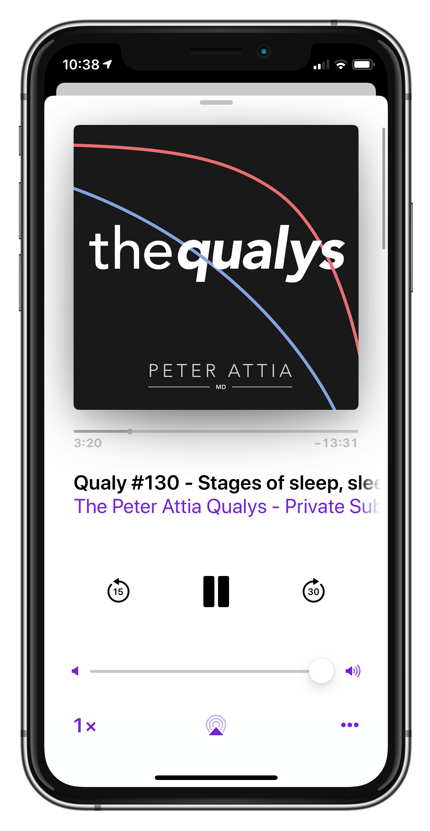 Mobile Phone playing Peter Attia podcast