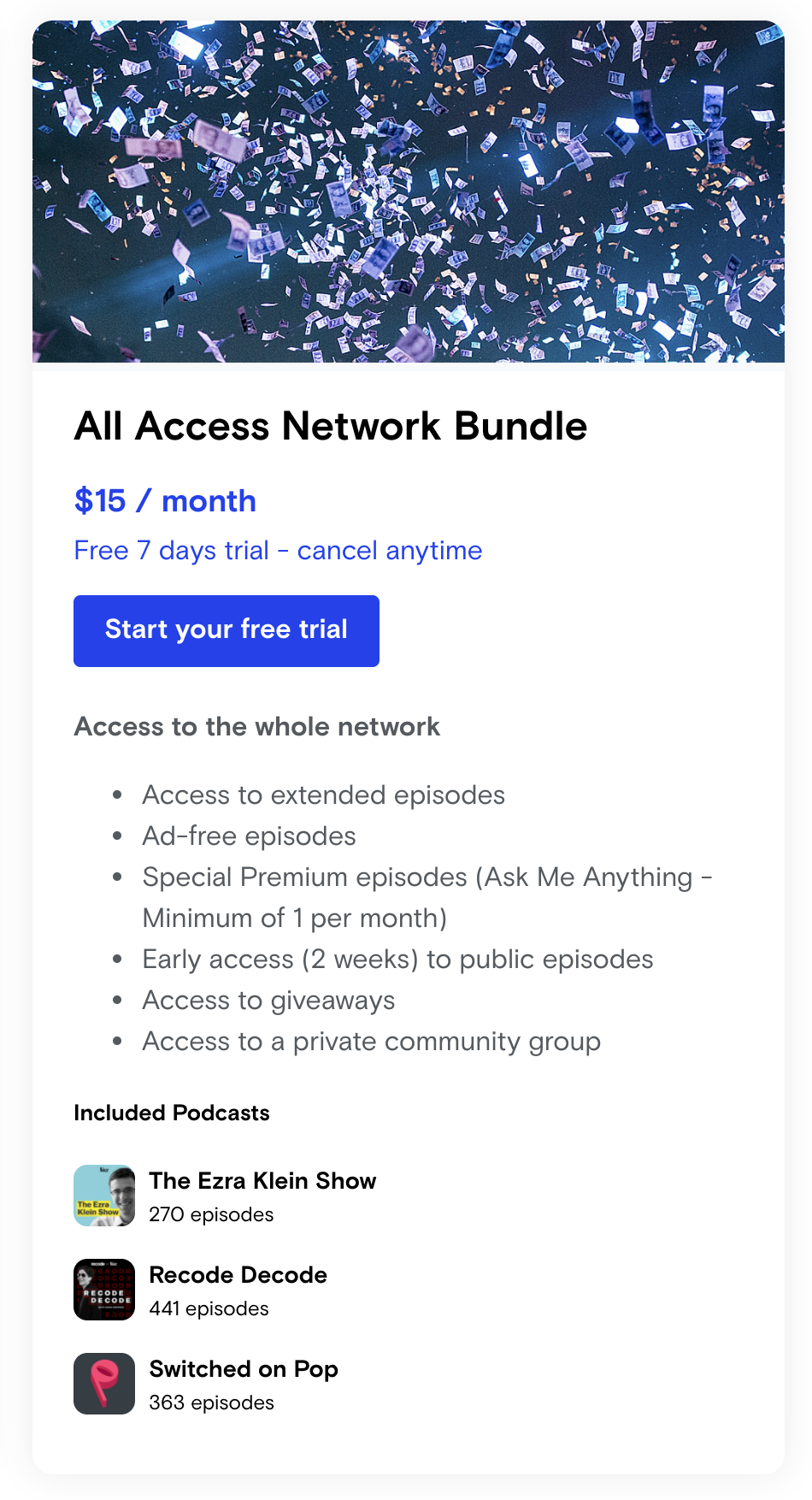 the multi-show bundle plan and pricing
